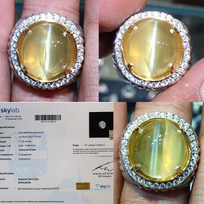 Batu Cat Eye Sillimanite Ceylon Srilanka Sertifikat 11.74 crt